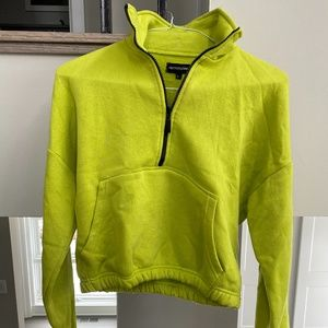 Green Cropped Zip Sweater